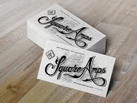 Square Amps Letterpress Business Cards Mockup