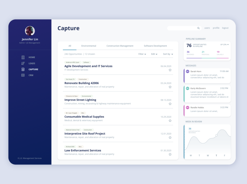 Capture 2 Win CRM Interface