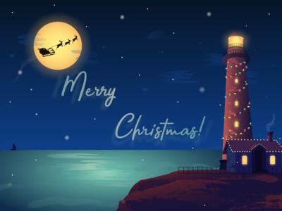 Christmas lighthouse