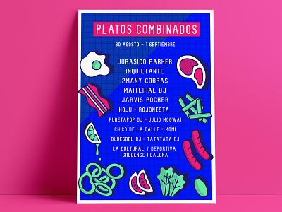 Platos Combinados Fest poster vector illustration flat design