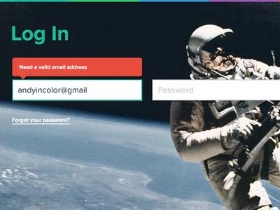 Space Log In astronaut flat ui kit login signin
