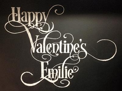 Chalk Art — Happy Valentine's Emilie desire script valentines day ephemera illustration lettering drawing chalk