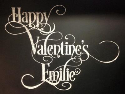 Chalk Art — Happy Valentine's Emilie