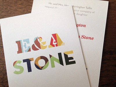 E&A Stone Wedding Invitations invites eames neutraface texture