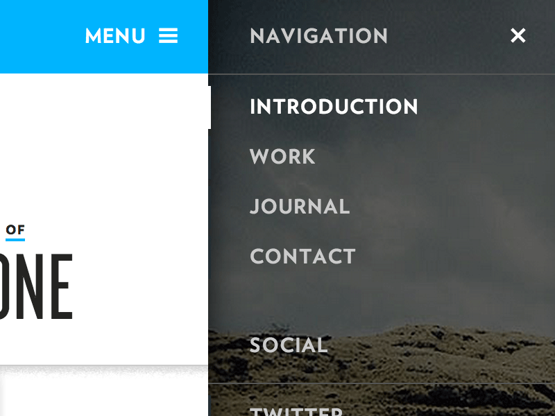 Andy Stone Sidebar Menu Design sidebar hamburger tablet mobile navigation