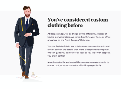 Bespoke Edge Illustration suits mens custom tailor bespoke