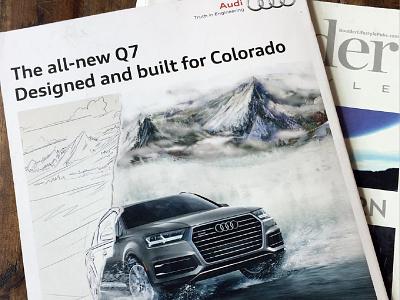 Audi Print Ad digital painting painting colorado mountains boulder concept car