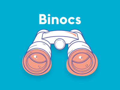 Binocs Logo bright illustration binoculars search branding identity