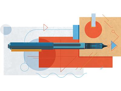 Test Illustration for the new Emerson Stone 60s modern geometric portfolio brand agency design studio office pen illustration texture