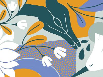 Namaste Mat pueblaestudio yoga mat yoga procreate flowers puebla design illustration