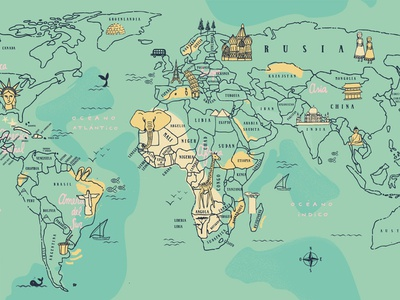 Map Illustration education puebla map illustration world