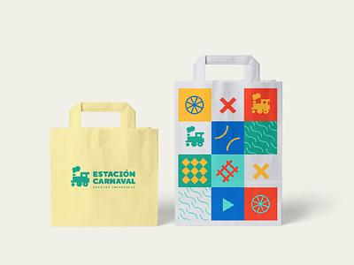 Estación Carnaval Bag bags kids train logo puebla illustration design