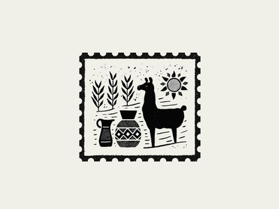 Stamp Purmamarca stamp design stamp puebla illustration