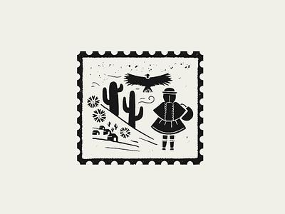 Stamp Peru stamp puebla illustration
