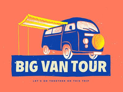 Big Van Tour #1 trip van logo puebla design illustration