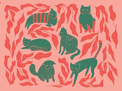 cat illustration #2 surface pink cats cat puebla illustration