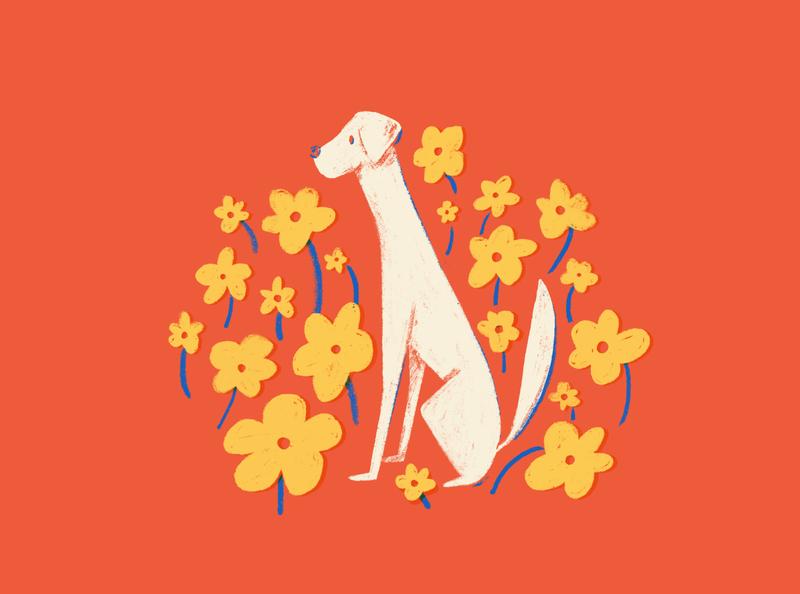 Spring Dog spring dog flowers puebla design illustration