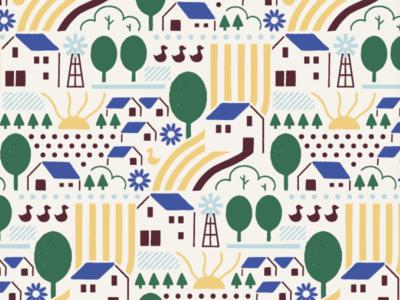 Casitas Pattern farm surfacedesign surfacepatterndesign pattern house puebla illustration