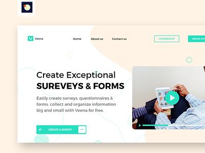 Survey website ui ux design - veena above the fold design uidesign uxdesign uxui simple web minimal adobe xd website app clean uiux design ux ui