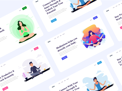 Medi - Landing page for a fitness and well being app purple blue green wellness wellbeing fitness illustration web app website adobe xd design clean ux uiux ui