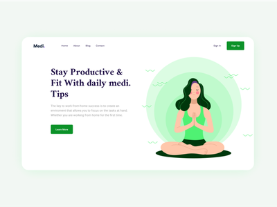 Fitness and well being green web minimal illustration app website design clean ux uiux ui
