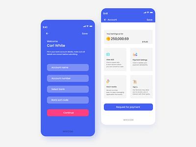 Wiconn app Payment form ramotion tubik tubik team orizon ui8 hiwow cuberto balkan brothers pink blue illustration interface simple app design clean ux uiux ui