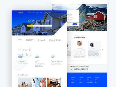 Primerose - Real estate Website design blue and white housing realestate real estate web uxdesign interface website adobe xd design clean ux uiux ui