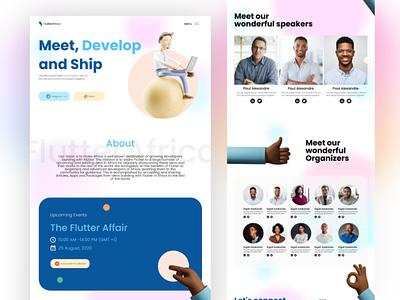 Flutter Africa - Flutter developer community in africa web design flutter gradient glass morphism purple web interface website adobe xd ui design clean ux uiux