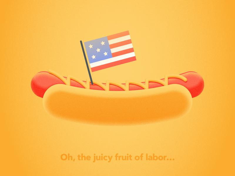 Holiday Series - Labor Day hotdog labor day illustration illustartor grain vector