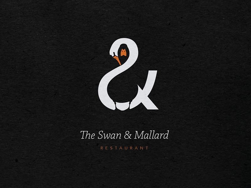 The Swan & Mallard logo restaurant negative space branding identity hidden swan mallard double meaning triple idea