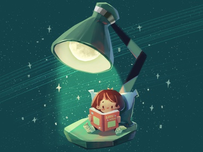 Bedtime reading moon star lamp child night girl character illustration