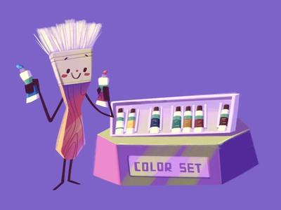 Dyeing My Hair brush color character illustration