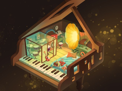 Music Home earphone guitar gramophone radio drum house room night piano music cartoon cat girl character illustration