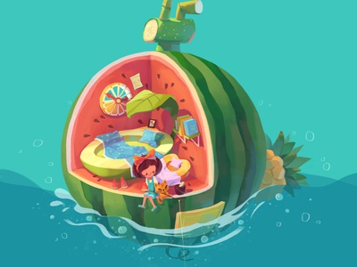 Fruit Home sea summer peach leaf pineapple watermelon fruit life green house cartoon cat girl character illustration