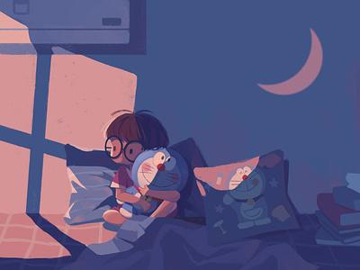 Losing Sleep lonely life cartoon shadow light moon bed night lose sleep girl character illustration