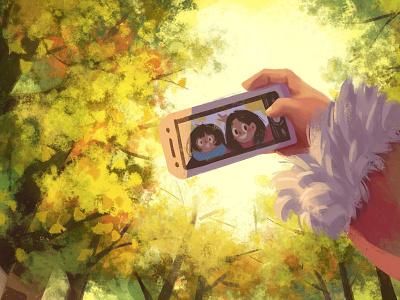 Last Autumn take photo warm yellow friend selfie autumn ginkgo tree tree life character girl illustration
