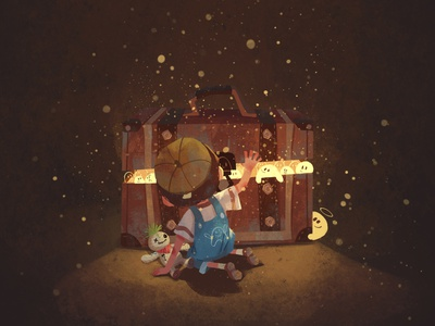 Secret soul night light childhood cartoon boy character illustration