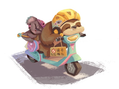 Friends-01 sleep motorbike sloth koala cartoon animal character illustration