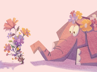 Friends-03 cartoon flower mouse elephant animal character illustration
