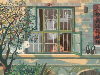 By the Window memory plant pomegranate tree afternoon childhood window house cat girl illustration