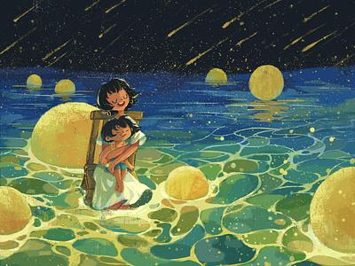 Singing the Sea light moon singing night girl illustration sea