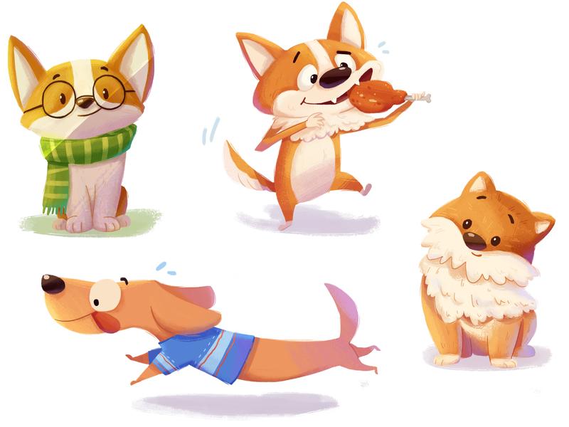 doggies dog animal character illustration