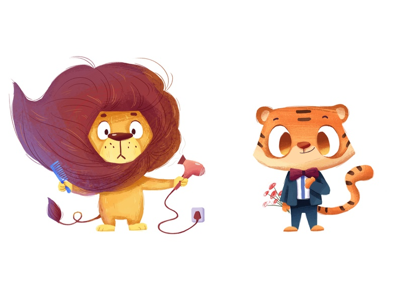 lion and tiger tiger lion animal character illustration