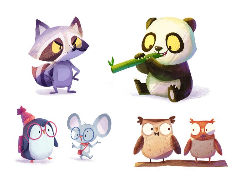 animals-02 cartoon owl penguin raccoon mouse panda character illustration
