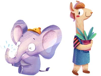 elephant and alpaca