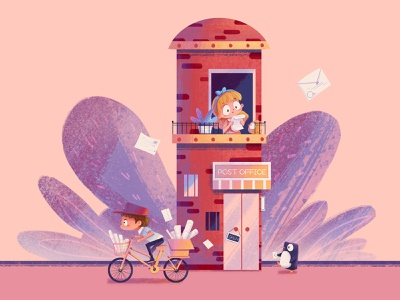 Post Office pink house letter penguin post office boy girl illustration