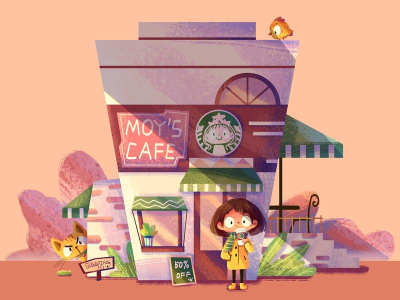 My Cafe house cafe cat girl illustration