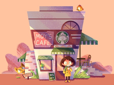 My Cafe house cafe cat girl illustration