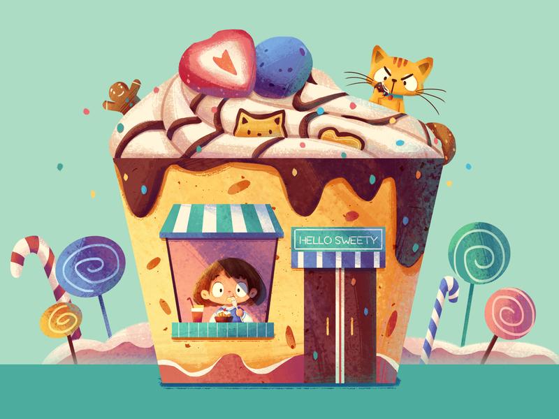 Dessert House cake dessert house cat girl illustration