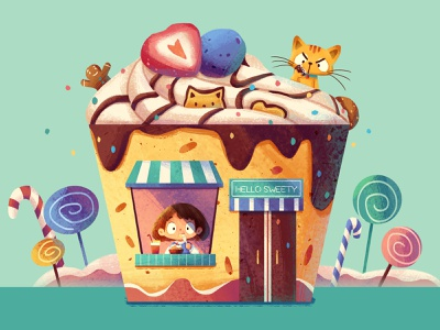 Dessert House cake dessert house cat girl illustration